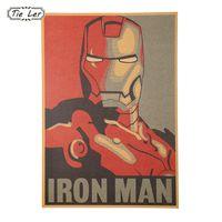autocollants muraux pour hommes en fer achat en gros de-Merveille Rétro Style Bande Dessinée Iron Man Avatar Affiche Peinture Décorative Kraft Papier Affiches Enfants Chambre Parure Wall Sticker