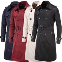 trench coat manches en cuir hommes achat en gros de-Hommes Trench style britannique classique Trench Veste à double boutonnage long Slim Outwear Ceinture ajustable Ceinture manches en cuir
