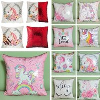 Wholesale plain pictures for sale - DIY sequined pillowcase cushion cover household Unicorn picture double sequined pillow covers