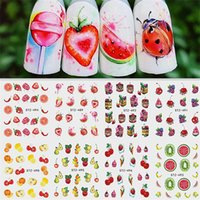 harajuku nagelaufkleber großhandel-Hot Mixed Design Sommer Obst Retro Kuchen Nail art Sticker Set Harajuku Element Wasser Transfer Aufkleber Maniküre Werkzeug Tipps Nail art Dekorationen