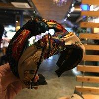 bandeaux larges multicolores achat en gros de-Bandeau Fille Accessoires Cheveux Bijoux De Cheveux Croix Large Côté Noué Bandeau Couleur Bloc Imprimé Tissu Cinq Styles