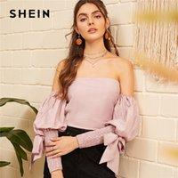 blusa rosa hombros descubiertos al por mayor-SHEIN Pink Off Shoulder Shirred Nudo Manga Linterna Crop Top Shirred Volver Blusa Mujeres Primavera Verano Sólido Boho Sexy Blusas