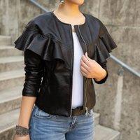 bayanlar uzun siyah deri ceket toptan satış-Bahar Bayanlar Siyah Deri Ceket Kadınlar Uzun Kollu Fermuar Ruffles O-Boyun PU Coat İnce Motosiklet Ceketler