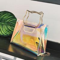 katze kupplung handtaschen großhandel-Neue Art und Weise Frauen Kuriertaschen Lnclined Flap Bag Mädchen Laser-Mini-Ketten-Schulter-Umhängetasche Katze Handtasche Nette weibliche Clutch