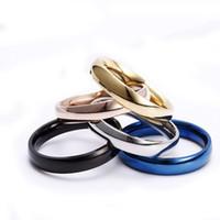 anéis de aço inoxidável em branco venda por atacado-Anel em branco de aço inoxidável simples anéis de banda novo anel de designer para homens mulheres moda jóias vontade e Sandy Drop Ship 080392
