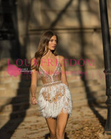 Wholesale hot sale gold dress short online - 2019 Sexy Spaghetti Straps Short Cocktail Dresses Feather Rhinestons For Party Prom Dresses Custom Made Hot Sale