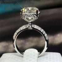 diamantes em forma de coração venda por atacado-Choucong Forma Do Coração 100% Real 925 anel de Prata esterlina 1ct Anéis de Noivado de Casamento Banda de Diamante Para As Mulheres homens Jóias