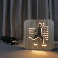 Wholesale kids sports lamps resale online - 3D Wooden Night Light Football Sports Decor Nightlight D Visual UBS Desk Table Lamps For Kids Baby Bedroom Decorative Lighting JK0040