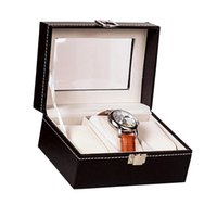 Wholesale jewelry lbs resale online - High Quality PU Leather Box Grid Slots Watch holder Boxes Display Storage Organizer Case Watches Accessories LB