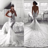 Wholesale unique robes for sale - 2019 Sexy full Lace Sweetheart Neck Mermaid Wedding Dresses White O neck Satin Mermaid Bridal Gowns Unique Robe De Mariage BA9614