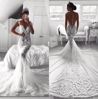 sirena vestido de novia blanco al por mayor-2019 Vestidos de novia de encaje completo con cuello de sirena y sirena Vestidos de novia de color blanco con cuello en O Sirena de satén Único traje De Mariage BA9614