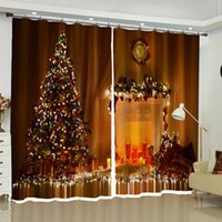 árvore de natal decoração azul venda por atacado-Natal Europeia árvore de malhas cortinas opacas para sala de estar quarto cozinha Janela Drapery Casa Decorações Itens