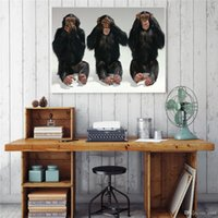 Wholesale three paintings wall art for sale - Group buy Modern Handpainted HD Print Funny Animals Three Gorillas oil painting On High Quality Canvas Home Decor Wall Art Multi Sizes a83