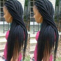 trenzas rectas micro al por mayor-Hot Micro Braid African American trenzado pelucas para mujeres 26