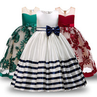 Wholesale girls yellow striped dress resale online - Kid Formal Flower Girl Dresses Striped Bowknot Design Ball Gown For Wedding and Party Children s Costume Teenager Prom T191016