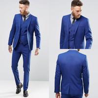 imagens masculinos smokings venda por atacado-Ternos de smoking elegante homem de cor azul elegante imagem real bonito noivo se adapte um botão Slim Fit terno de casamento para homens (Jacket + Pants + colete)