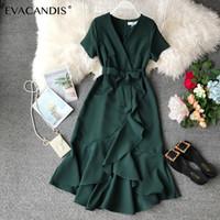 grande taille robes coréennes achat en gros de-À volants V Cou Midi Robe Blanc Arc Tunique D'été Bureau Coréen Sexy Élégant À Manches Courtes Plus La Taille Vert Rouge Robe Femmes Vestidos