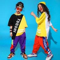 traje para el baile hip hop al por mayor-Los niños del salón de baile Hip Hop ropa de baile para los trajes de baile de jazz de gran tamaño muchachos de las niñas camiseta camisetas Pantalones flojos del basculador Dancewear