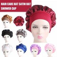 58cm Adjust Waterproof Shower Cap Long Hair Care Women Satin Night Sleep Cap Silk Head Wrap Chemotherapy Cap High Elastic