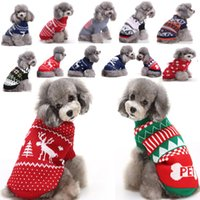 cadılar bayramı yılbaşı partisi toptan satış-Ren geyiği Köpek Noel Cadılar Bayramı Partisi Giyim Yeni Geliş Örme Köpek Pet Kedi Kostümleri Kar Tanesi Outerwears Coat Triko Giyim HH7-250