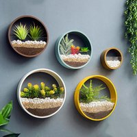 çiçek sepeti vazolar toptan satış-Sepet Dekorasyon süsleme Yuvarlak Katı Renk Çiçek Tutucu Vazolar Q190529 Asma Yaratıcı Metal Demir Sanat Duvar Vazo Ev
