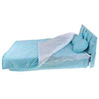 Wholesale sweet bedding set resale online - 1 Sweet Blue Dotted Single Bed with Bedding Set for BJD Dolls Room Bedroom Decoration