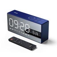 bluetooth radyo alarmı toptan satış-Dido X9 Bluetooth Mini Akıllı Hoparlör Uzaktan Kumanda Kartı ile Ayna FM Ses Şarj Radyo Çağrı Alarm Seti 11.11 Büyük satış