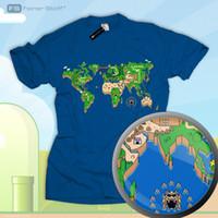 Wholesale video fan for sale - Group buy Mario Fan Shirt Super Zelda World Map Video Gamer Nerd Star Link Sonic NES SNES Funny Unisex Casual Tshirt top
