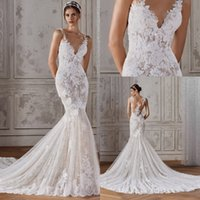 Wholesale fish mermaid wedding gown for sale - Group buy Elegant V Neck Lace Mermaid Wedding Dresses Sleeveless Illusion Tulle Applique Fish Tail Plus Size Sweep Train Wedding Bridal Gowns