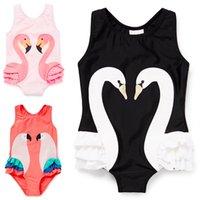 Wholesale swimwear children for girl online - Girls Swimwear Cute Children Swimsuit Swan Flamingo baby girl swimsuit One Pieces Swim Wear For Kids WWA178
