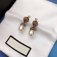 Wholesale pearl cubic jewelry pendants resale online - 2020 spring and summer hot sale new strawberry color diamond pearl pendant designer earrings luxury designer jewelry women earrings