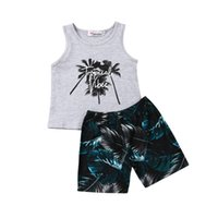 Wholesale baby beach outfits for sale - Group buy Kids Baby Boy Summer Beach Clothes Coconut Tree Tops Tee Short Pants Outfits