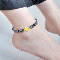 ingrosso perline acriliche di halloween-Perle acriliche in lega da donna di personalità unica di moda perline piatte magnetiche quadrato nero pietra piedi cavigliera selvatici