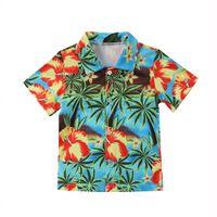 erkek gündelik gömlek giymek toptan satış-2018 Bebek Erkek Bebek Hindistancevizi ağacı Baskı Yaz Gömlek Casual Kısa Kollu Bluz Plaj Sevimli Tops Wear