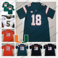 siyah n s toptan satış-Özel Miami Hurricanes 2019 Futbol Herhangi Adı Numarası Yeşil Turuncu Siyah Beyaz 18 Tate Martell 5 N'Kosi Perry 12 Malik Rosier Burns Jersey