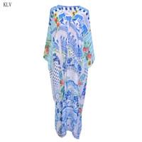 длина пола шифон оптовых-Women Chiffon Maxi Floor Length Open Front Kimono Cardigan Top Floral Irregular Digital Printing Bikini Cover Up Sunscreen Shirt