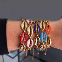 ракушечные ракушки оптовых-Женские браслеты из ракушек ручной работы Пляжный браслет из бисера Браслет из ниток