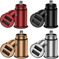 Wholesale adaptors for sale - Group buy Aluminum Alloy Dual Usb Ports A metal Car Charger Auto Power Adaptor For iphone Samsung android phone gps pc