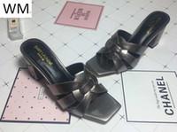 grauer string großhandel-Duping520 Fashion Dark Grey Square Kopf High Heels Hausschuhe Sandalen Casual Handmade Walking Tennis Sandalen Hausschuhe Pantoletten Slides Thongs