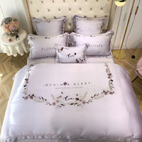 Wholesale silk tencel bedding sets resale online - Hot Super Cool High Quality Bedding Set Branch Embroidery Two sided Tencel Ice Silk Sheet Chinese Style Bedding Article