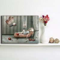 ingrosso stampa su tela rossa pittura a parete-Ha portato le sue bacche rosse di Nicoletta Ceccoli Canvas Painting Picture Wall Poster e stampa decorativa per la camera dei bambini Home Decor