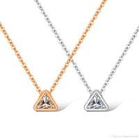 links de triângulo da cadeia de ouro venda por atacado-Trendy Simples Cadeias de Ligação de Prata Rosa de Ouro Triângulo Pingente Colares Delicado Mínimo Mulheres Charme Colar de Jóias GX1399