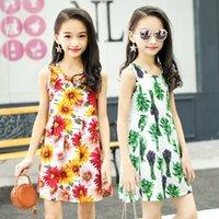 model çizgi film elbiseleri toptan satış-Patlama modelleri Koreli çocuk giyim toptan çocuk gecelik yaz pamuk ipek ince kızlar karikatür baskı elbise nesil