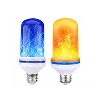 sarı led ampul e27 toptan satış-2835 LED Işık Mavi Alev Etkisi Yangın Ampuller E27 9 W Yaratıcı Işıklar Titrek Öykünme Vintage Atmosfer Dekoratif Sarı Lamba (4 Modu)