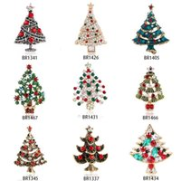 Wholesale good brooches resale online - New Christmas Tree Brooches for Women Rhinestone Inlay Fashion Jewelry Festival Brooch Pins Good Gift Winter Coat Cap Brooch