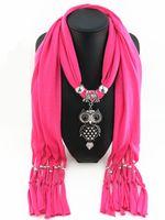 Wholesale scarf animal necklace online - women winter grey collier scarf necklace pendant owl bird animal vintage maxi scarf choker soild color black jewelry scarves