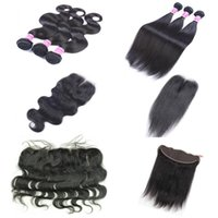 Wholesale human hair parts online - AiS Brazilian Virgin Human Hair Bundles With Closures Extensions Bundles With x4 Closure Bundles with Frontal Straight Body Wave