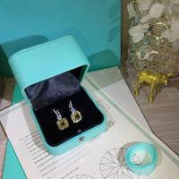 серебряные серьги из серебра оптовых-Квадратные серьги с бриллиантами из серебра 925 пробы для ювелирных украшений Pandora с желтыми бриллиантами