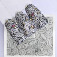 arte de uñas de lavanda al por mayor-1 Unids Sexy Black Lace Flower Sticker Flower Series Nail Art Pegatinas de transferencia de agua Wraps completos Deer / Lavender Nail Tips DIY 005