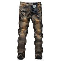 новые тенденции моды джинсы оптовых-2019 New trend Fashion Stitching jeans Men's Retro Style Slim Small Straight Motorcycle jeans More Size 29-34 36 38